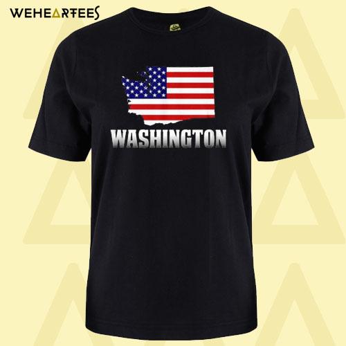 American Flag Washington Map T Shirt