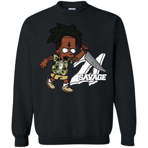 21 Savage Bart Simpson Pullover Sweatshirt DAP