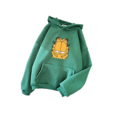 Cartoon Printed Pocket Long Sleeve Hoodies DAP