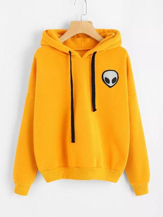 Drop Shoulder Alien Print Hooded Sweatshirt DAP