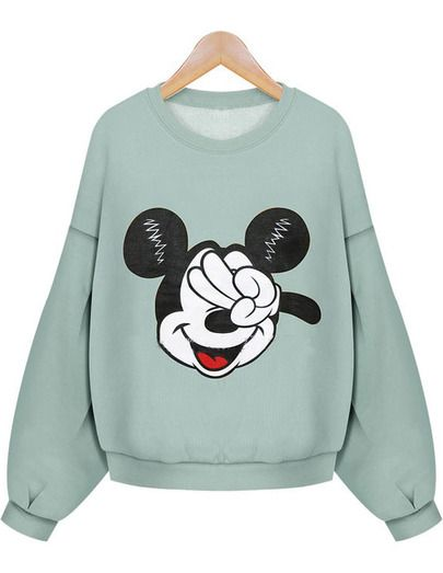 Green Long Sleeve Mickey Mouse Print Crop Sweatshirt DAP