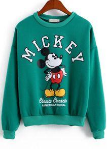 Green Long Sleeve Mickey Print Sweatshirt DAP