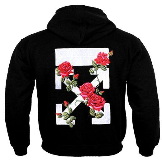 Off White Rose Flower back Hoodie DAP