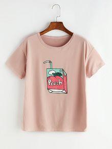 Pink Peach Cartoon Print T-shirt DAP