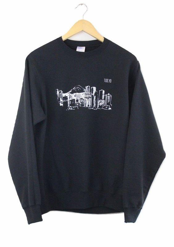 Tokyo Black Graphic Crewneck Sweatshirt DAP