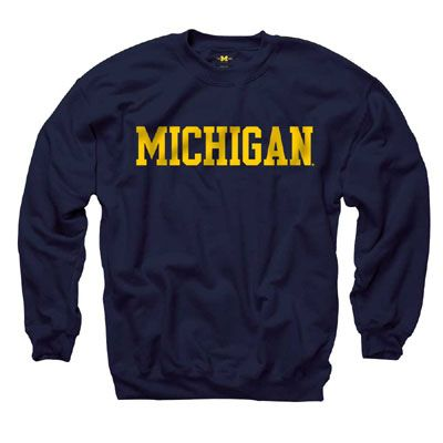 University of Michigan Navy Basic Crewneck Sweatshirt DAP