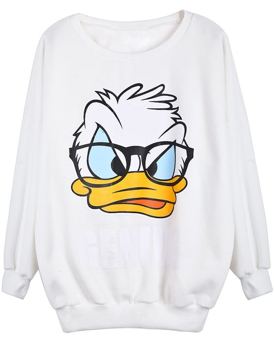 White Long Sleeve Donald Duck Print Sweatshirt DAP