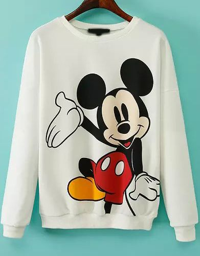 funny Mickey! White Long Sleeve Mickey Print Sweatshirt DAP
