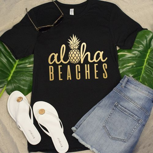Aloha Beaches Pineapple Black Vinyl Tee Shirt DAP