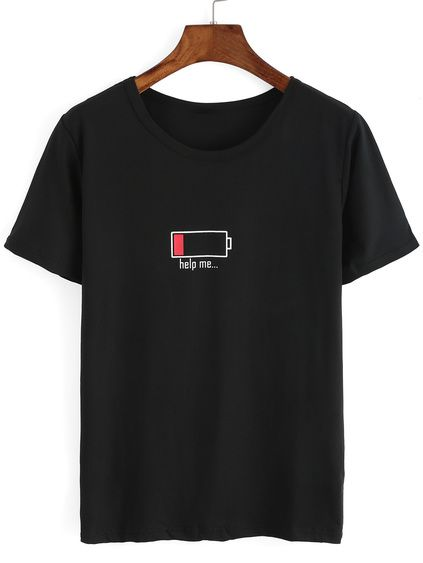 Battery Print Black T-shirt DAP