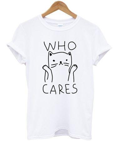 Who Cares Cute Cat T-shirt DAP