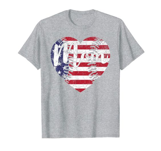 Baseball American Flag USA Heart Mom T-Shirt DAP