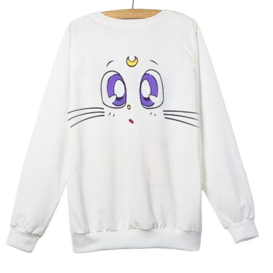 Cute Cat Cartoon Moon White Sweatshirt DAP