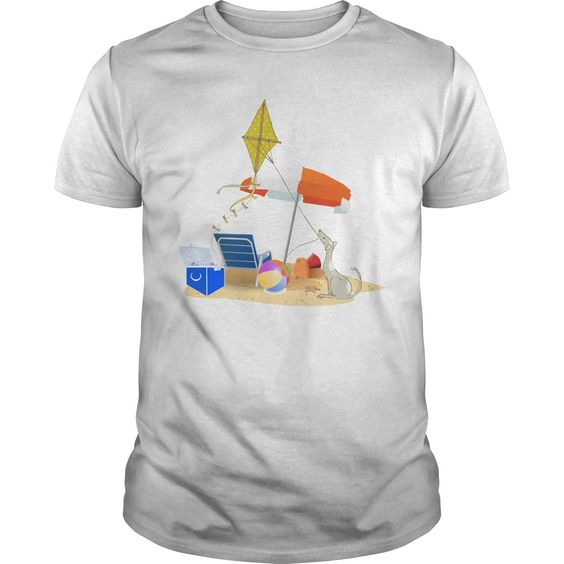 Dog Flying A Kite At The Beach T-Shirt, DAP