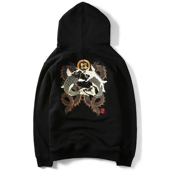Double Koi & Dragon Embroidered Sukajan Hoodie DAP