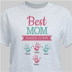 Personalized Best Mom Hands Down T-Shirt DAP