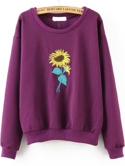 Sunflower Embroidered Purple Sweatshirt DAP
