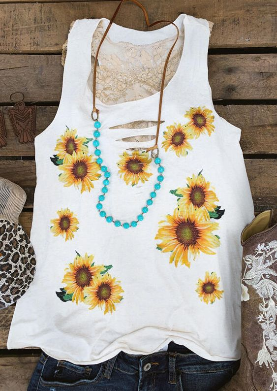 Sunflower Hollow Out Tank TOP DAP