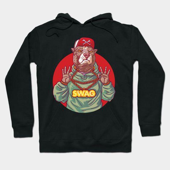 Swag Pit Bull Bulldog Hip Hop Rap Hoodie DAP