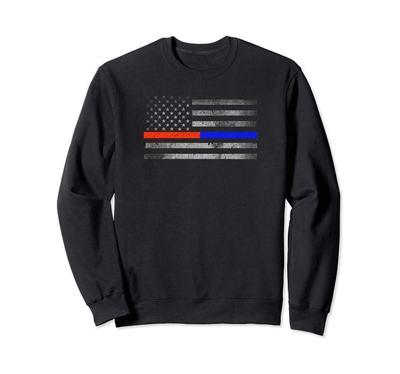 Thin Red Blue Line Flag Firefighter Police Sweatshir DAP
