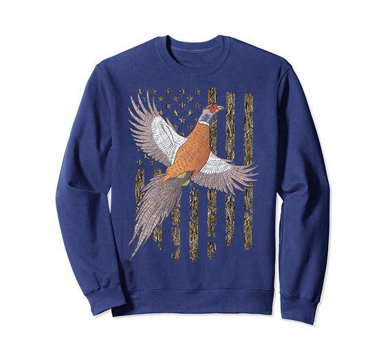 Usa American Flag Tree Camouflage Pheasant Hunting Gift Sweatshirt DAP