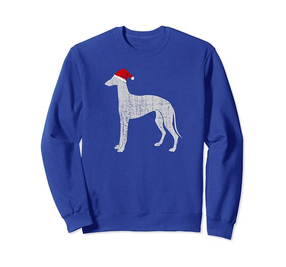 Vintage Santa Hat Greyhound Dog Sweatshirt DAP