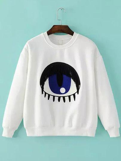 White Crew Neck Eye Fringed Sweatshirt DAP