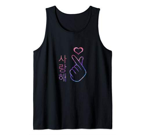 I Love You Saranghae Hand Heart Gesture - Korean Pop K-Pop Tank TopDAP