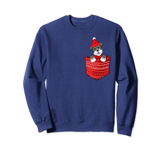 Santa Miniature Schnauzer In Pocket Christmas Sweatshirt DAP