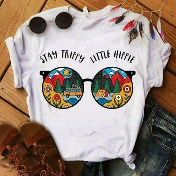Glasses Stay Trippy Little Hippie Ladies T-ShirtDAP