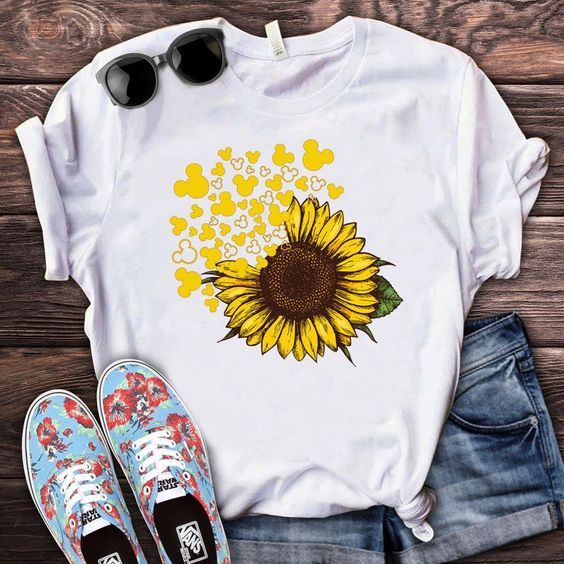 Mickey Head Sunflower Cute Disney Vacation TshirtDAP