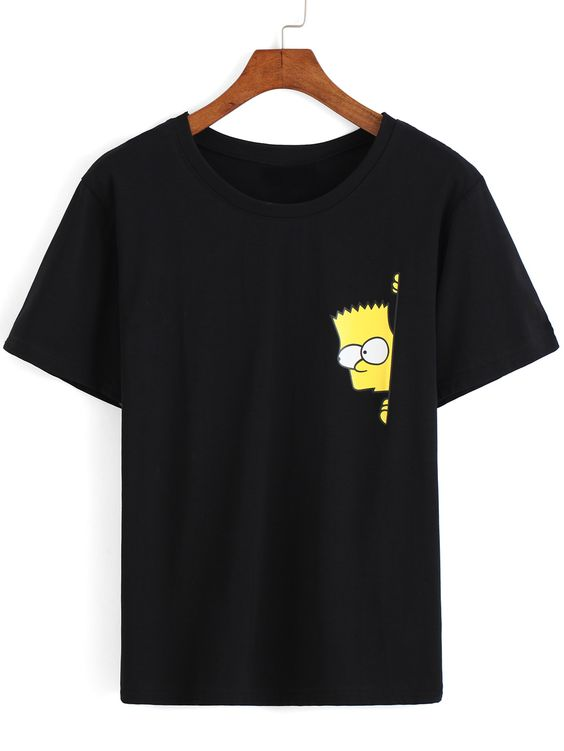 Simpson Print Loose Black T-Shirt DAP