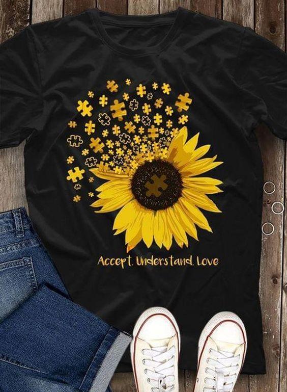 Autism Sunflower Accept T Shirt DAP