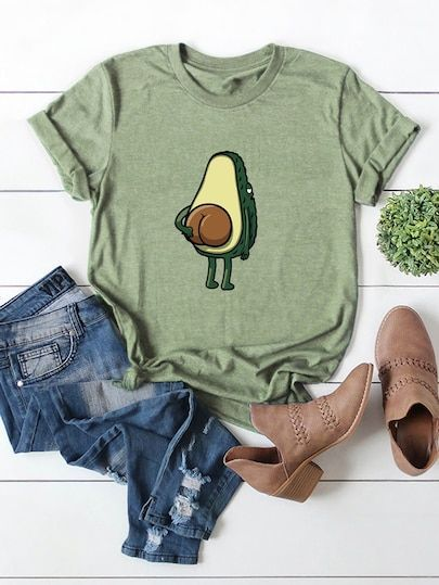 Avocado Print Cuffed Tee T-shirt DAP