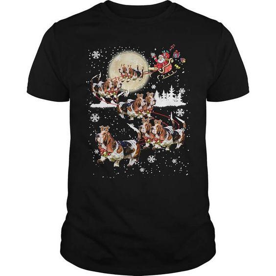 Basset Hound Reindeer Christmas Shirt DAP